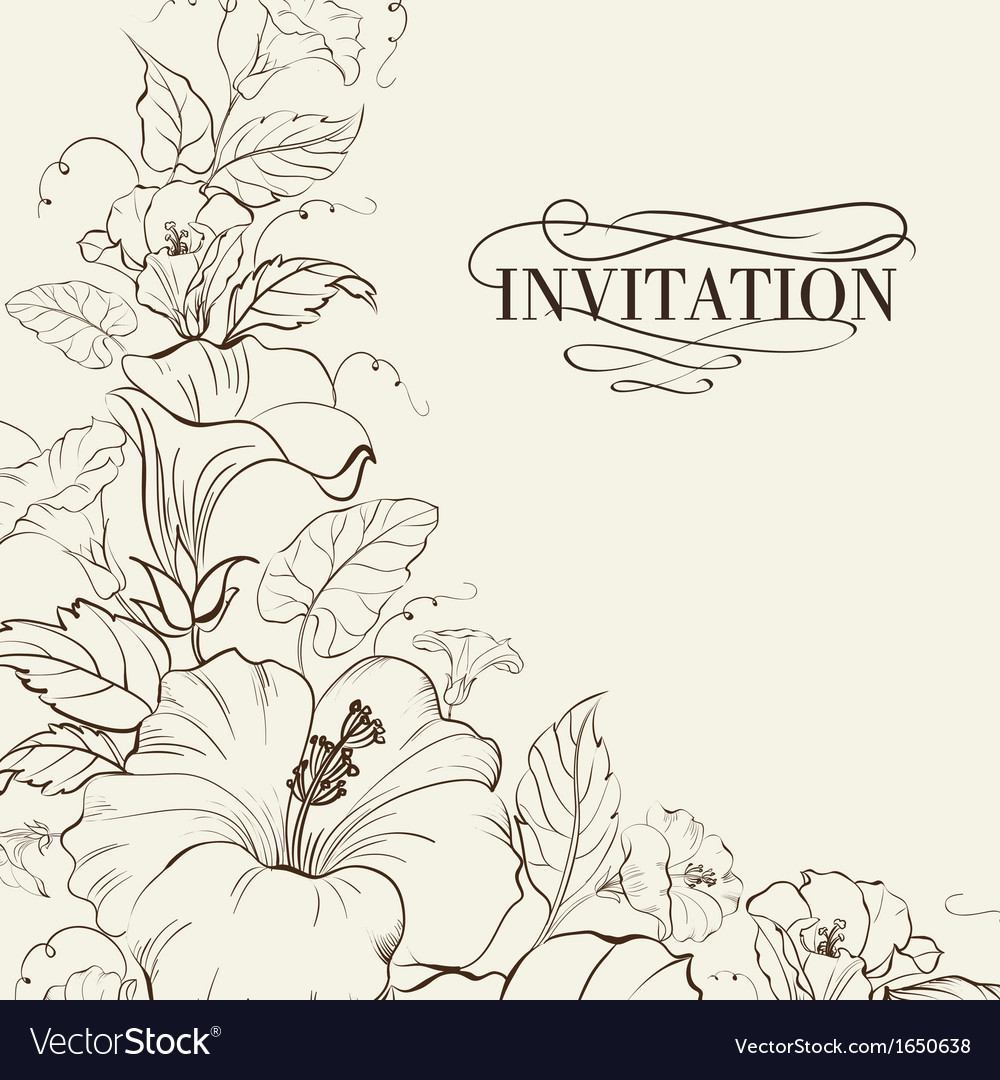 Nature card with blooming hibiscus vector