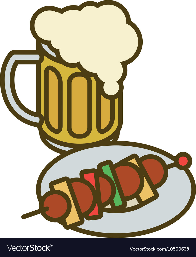 Overflowing beer mug and plate with kebab vector