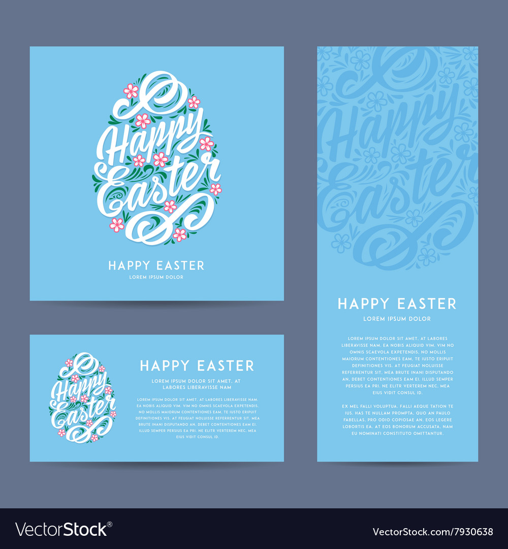 Set of happy easter greeting cards handdrawing vector