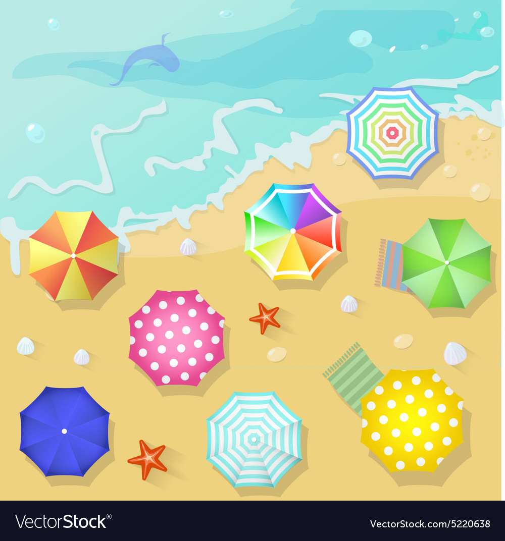 Summer beach in flat design style shell and towel vector