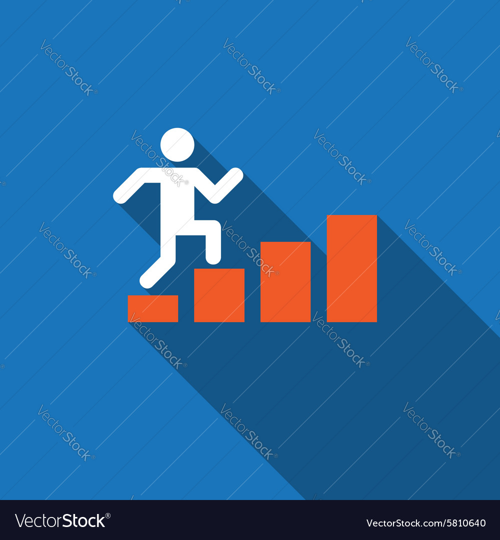 Businessman rises up on business diagram vector