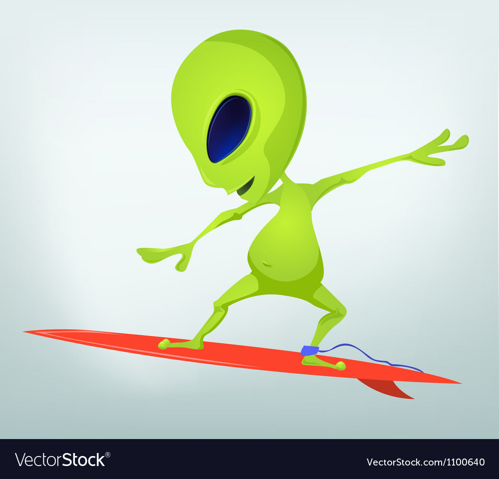 Cartoon alien surfboarding vector