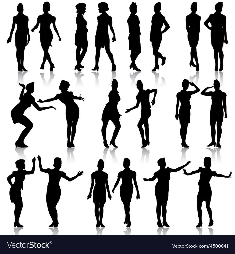Black silhouettes of beautiful girls in stewardess vector