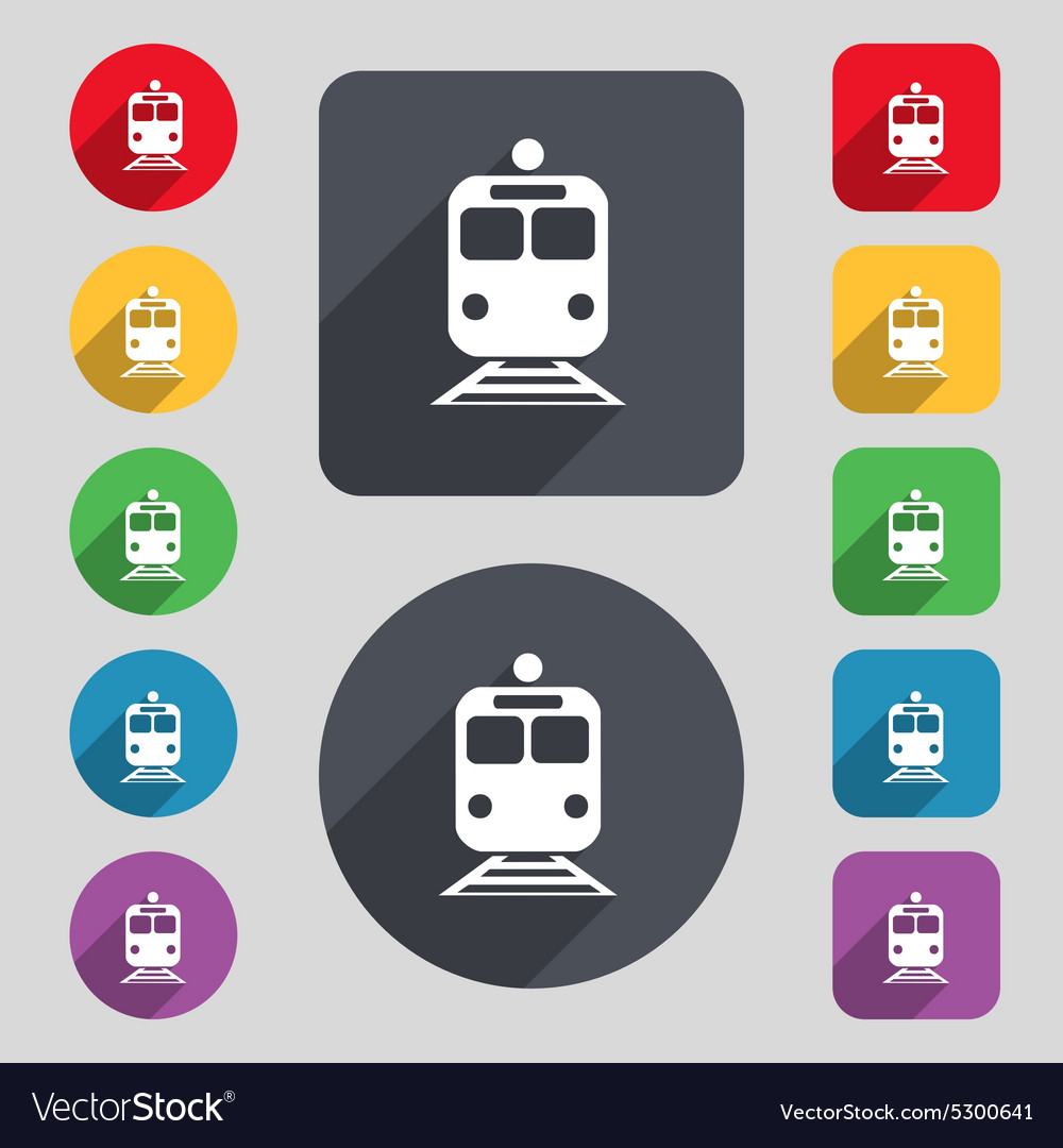 Train icon sign a set of 12 colored buttons and a vector
