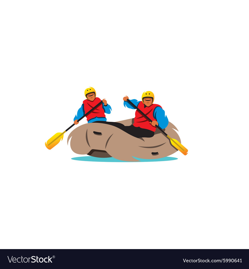 Two men rafting the river sign vector