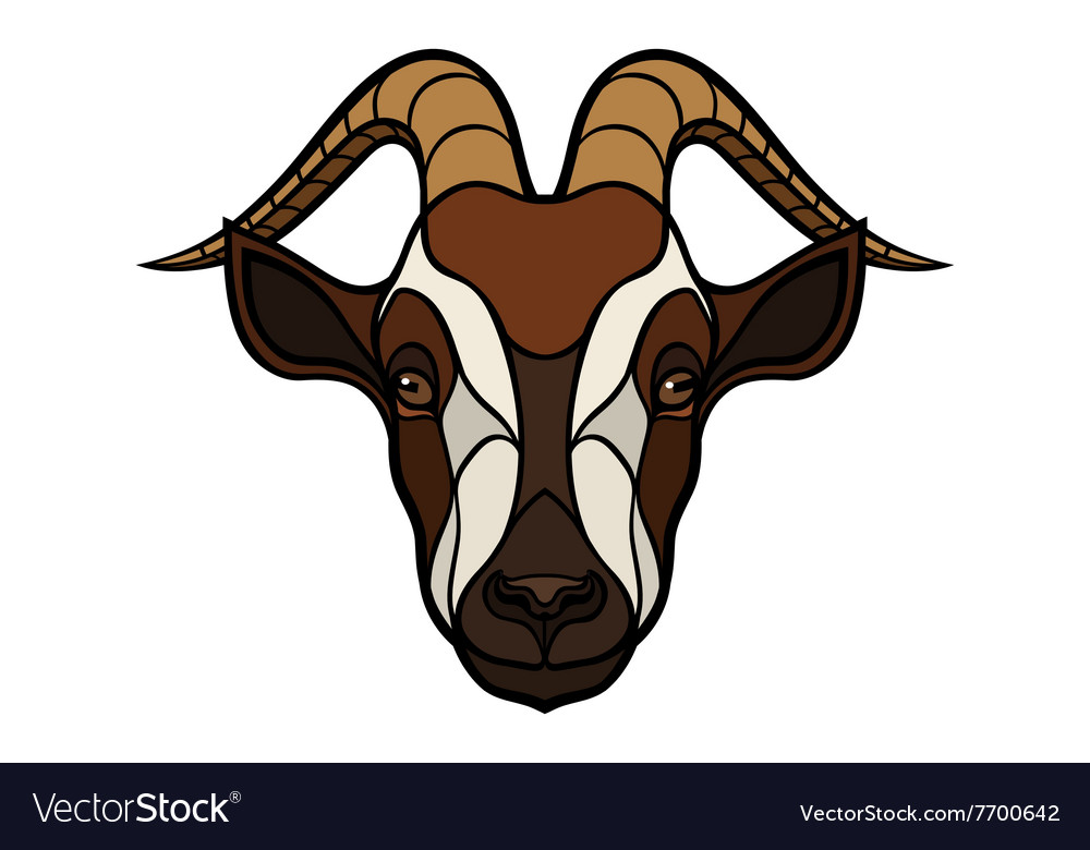 Goat head image on white background vector