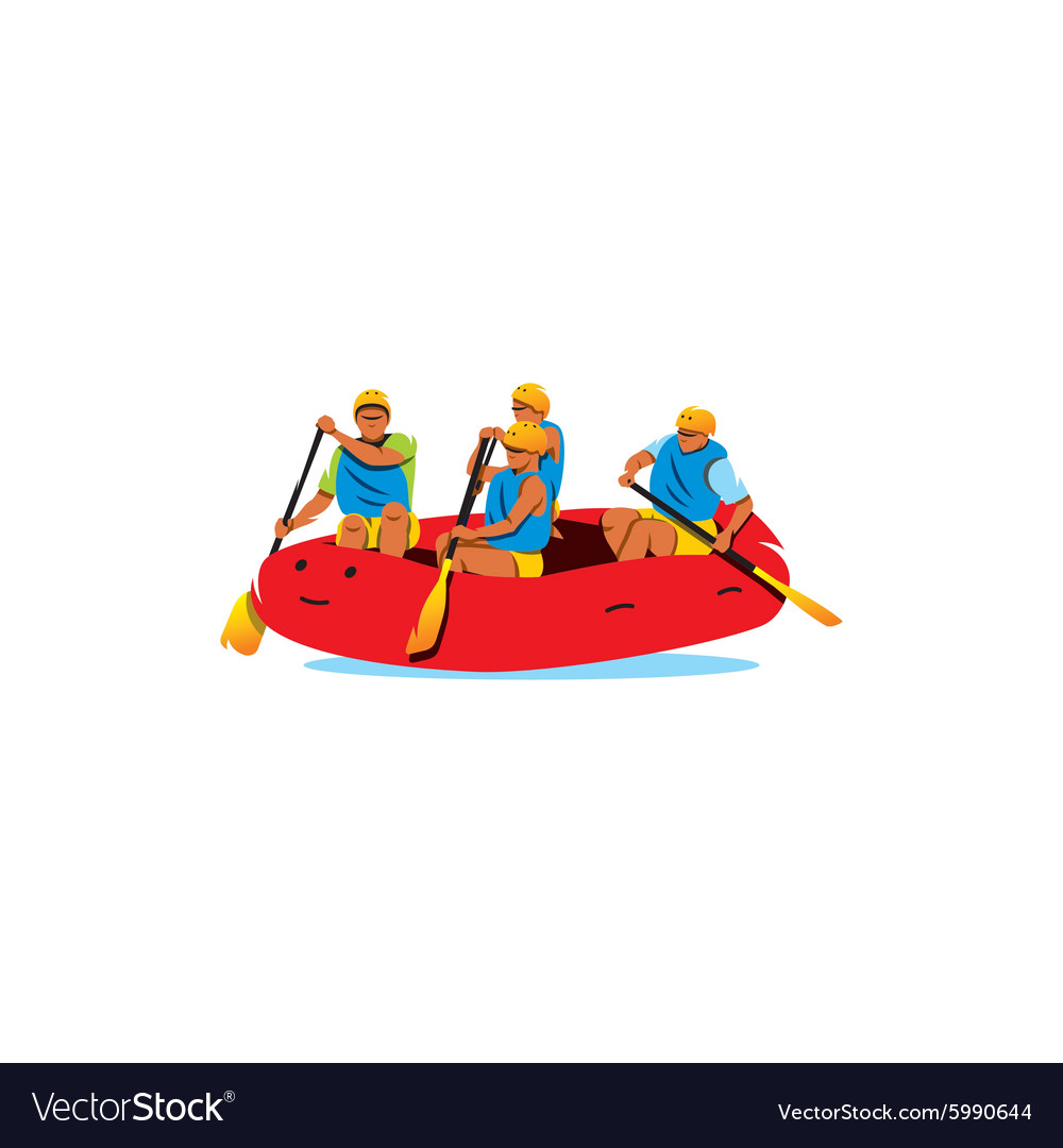 Four men rafting the river sign vector