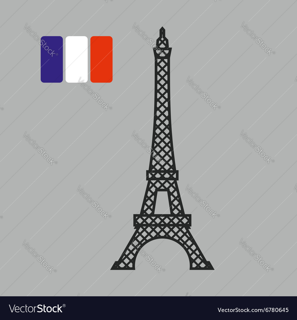 Eiffel tower attraction of paris fflag of vector