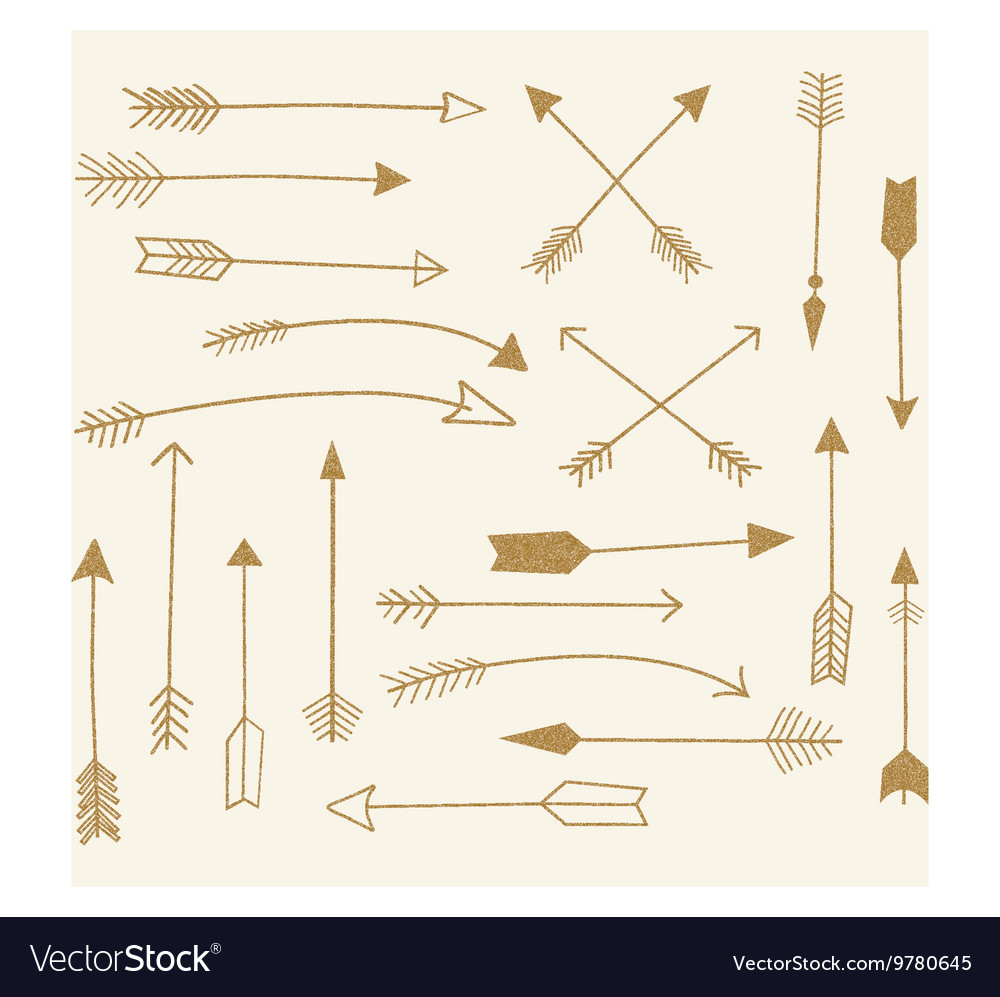 Hand draw gold arrow collection vector