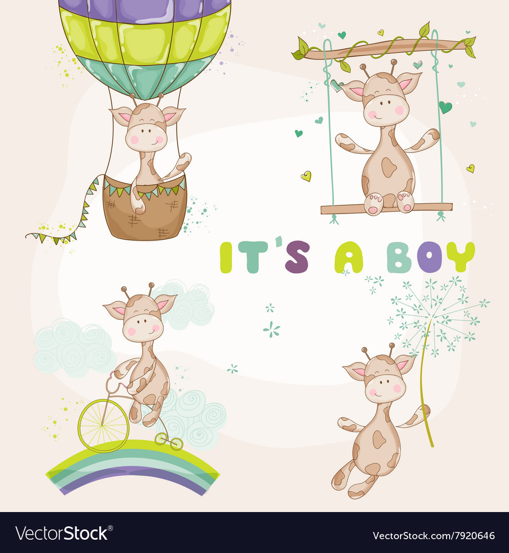 Baby giraffe set  baby shower or arrival card vector