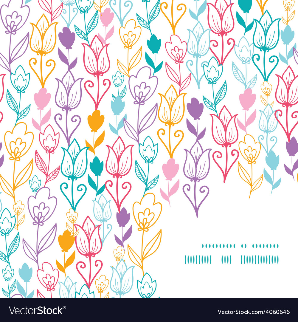 Colorful tulip flowers frame corner pattern vector
