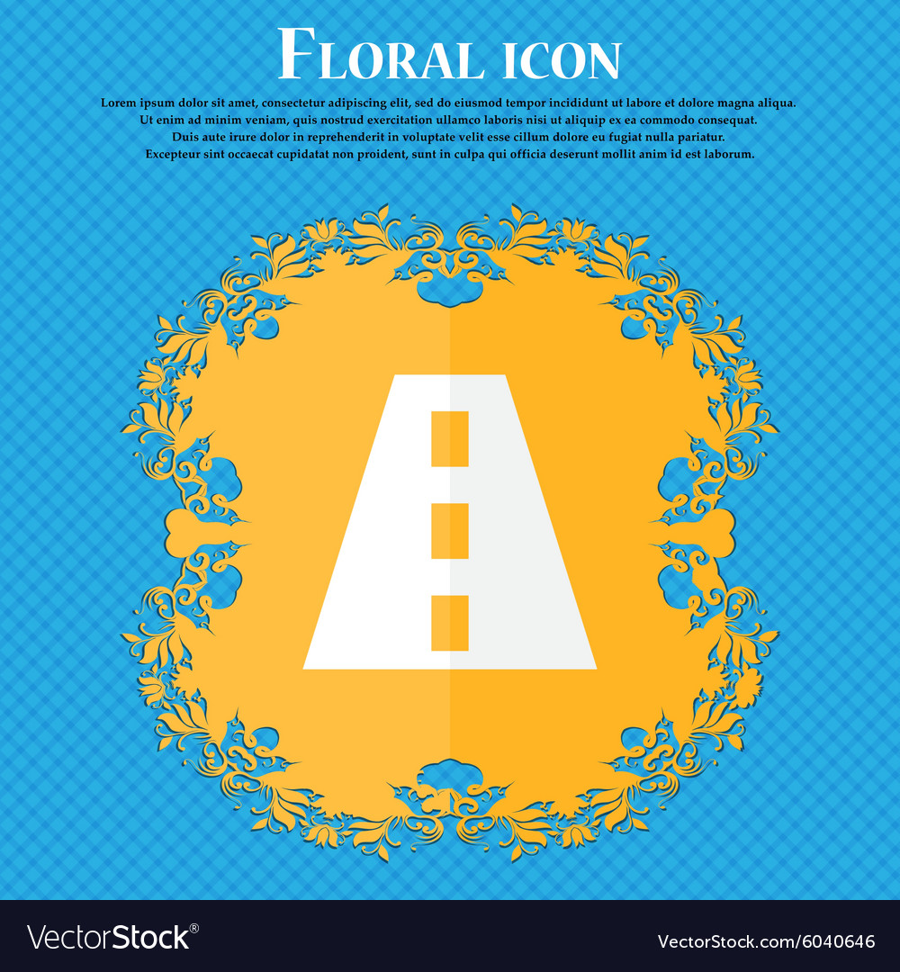 Road floral flat design on a blue abstract vector