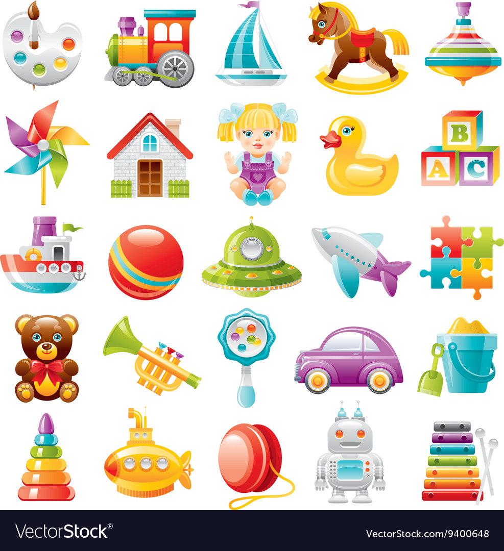 Baby toys icon set palette train yaht horse vector