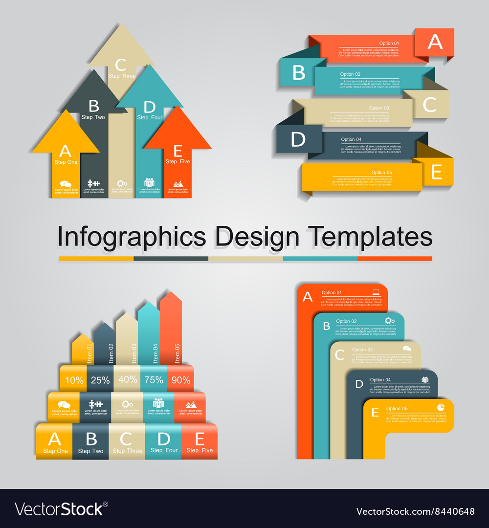 Set of infographics design template with 5 options vector