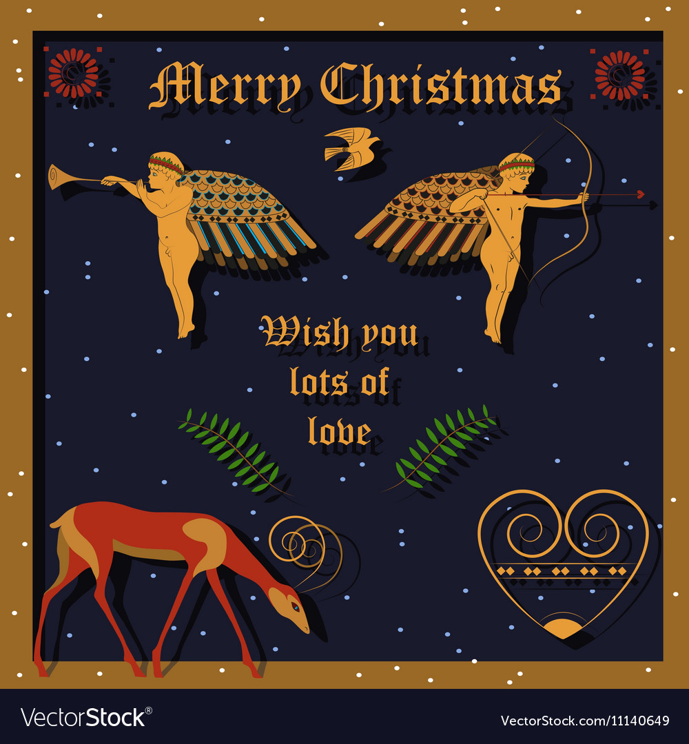 Golden christmas angels vector