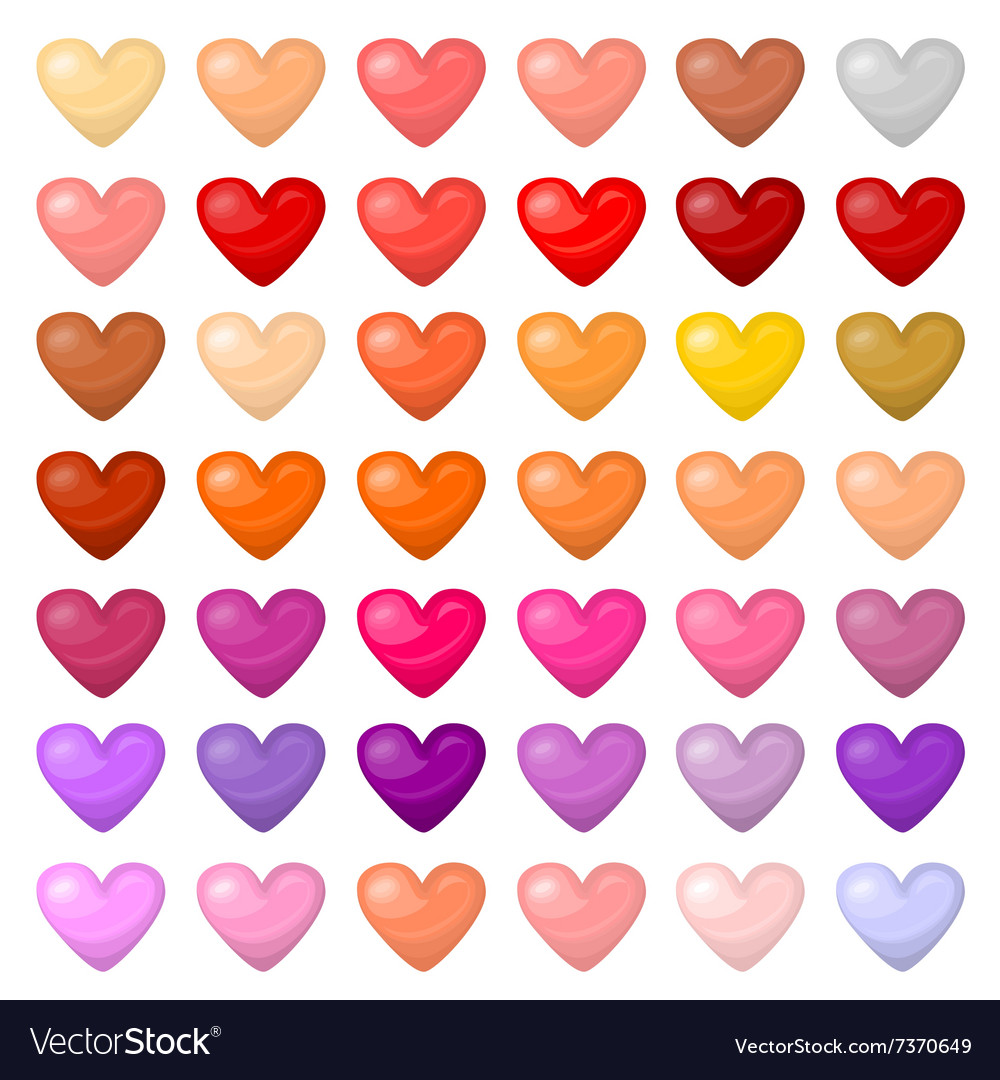 Set of colorful hearts palitra of different vector