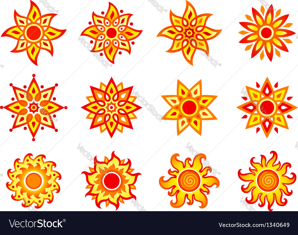 Stylized suns vector