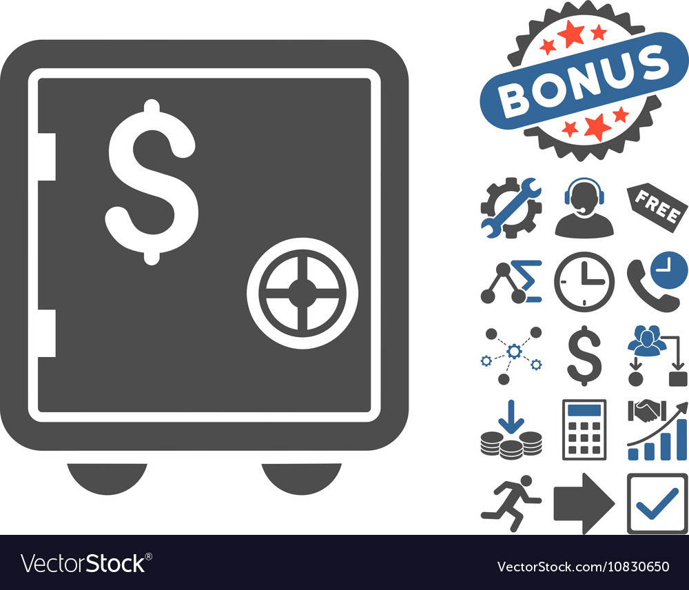 Banking safe flat icon with bonus vector