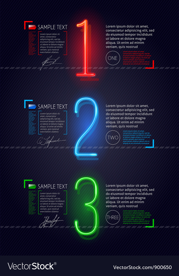 Design template with neon luminous numbers vector