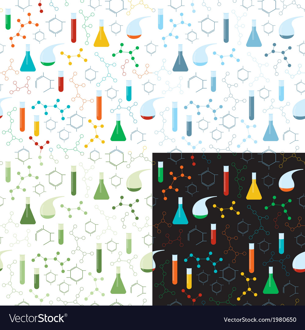 Seamless pattern of chemistry lab vector