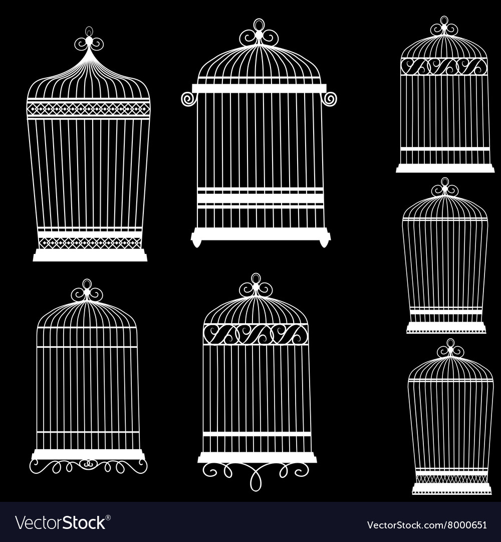 Silhouette of a decorative bird cages set vector