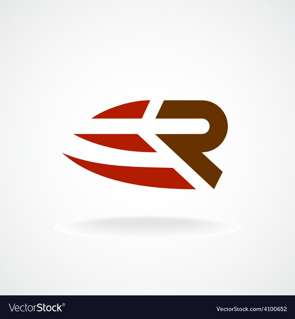 R letter logo template fast speed symbol rapid vector