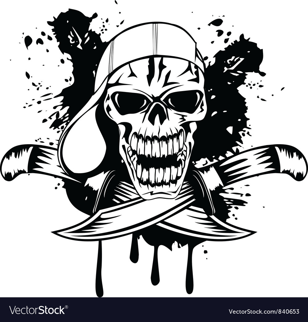 Skull in baseball cap and knife vector