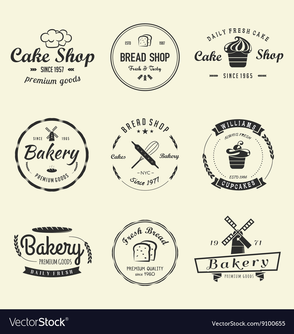 Bakery cakes vintage logo vector