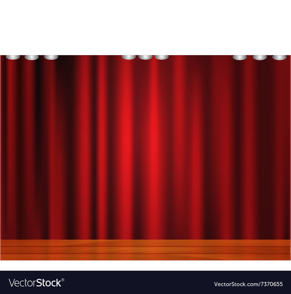 Beautiful red curtain with wooden floor vector