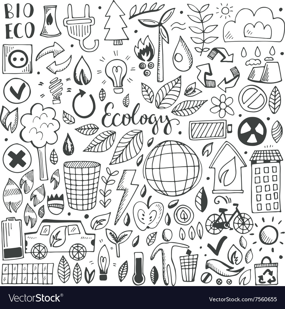 Hand drawn sketch elements set vector