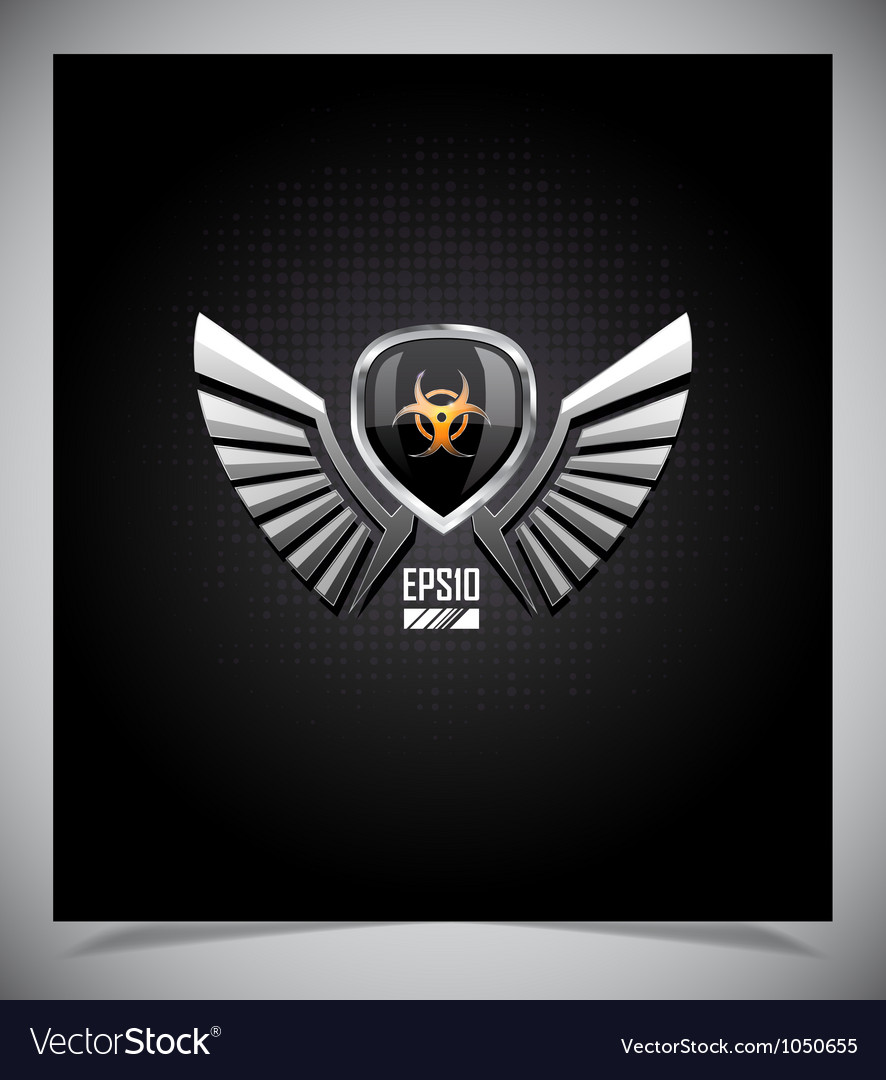 Shield with skull and wings vector