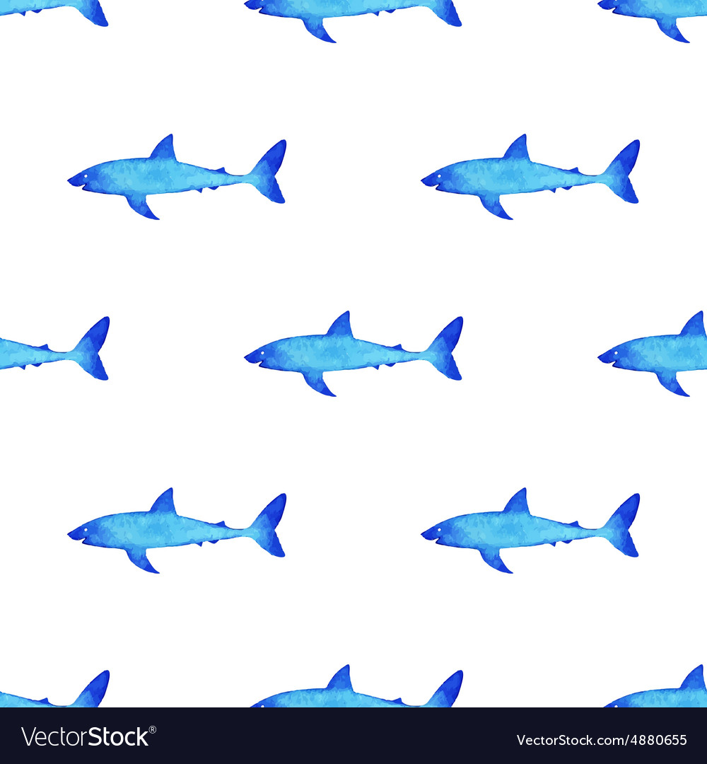 Watercolor shark pattern vector