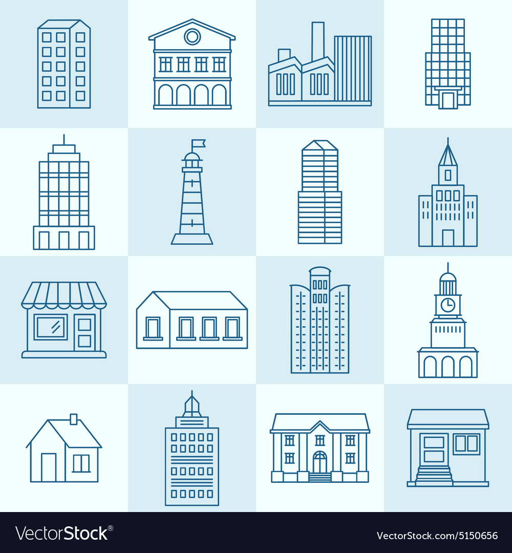 Collection of linear icons vector