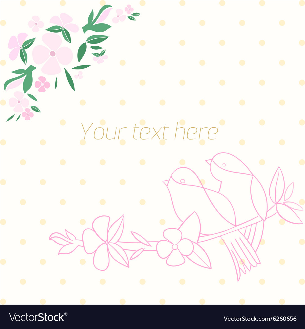 Invitation template birds with flowers vector