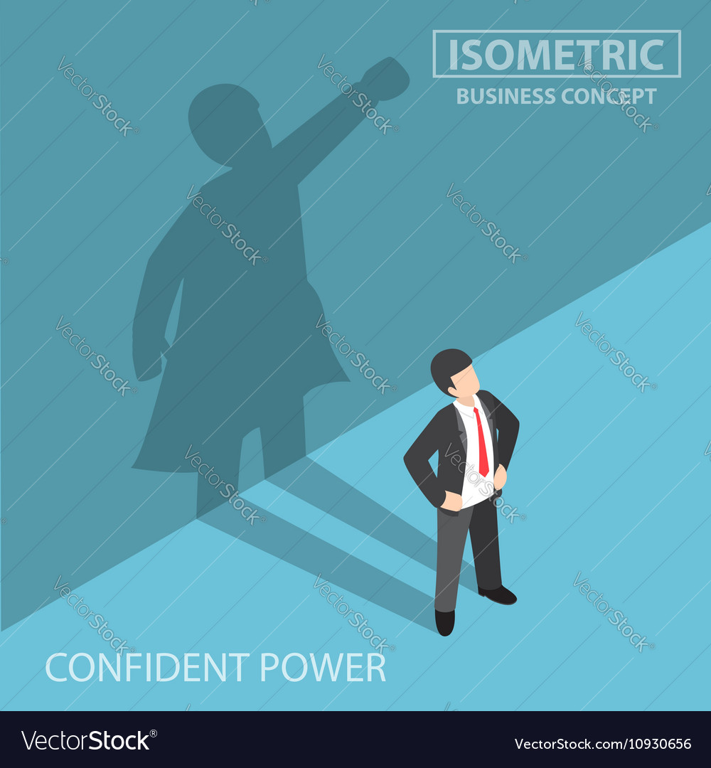 Isometric businessman with his superhero shadow vector