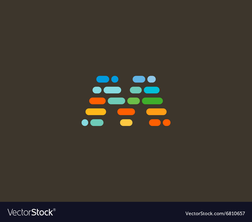 Abstract letter m logo dynamic code vector