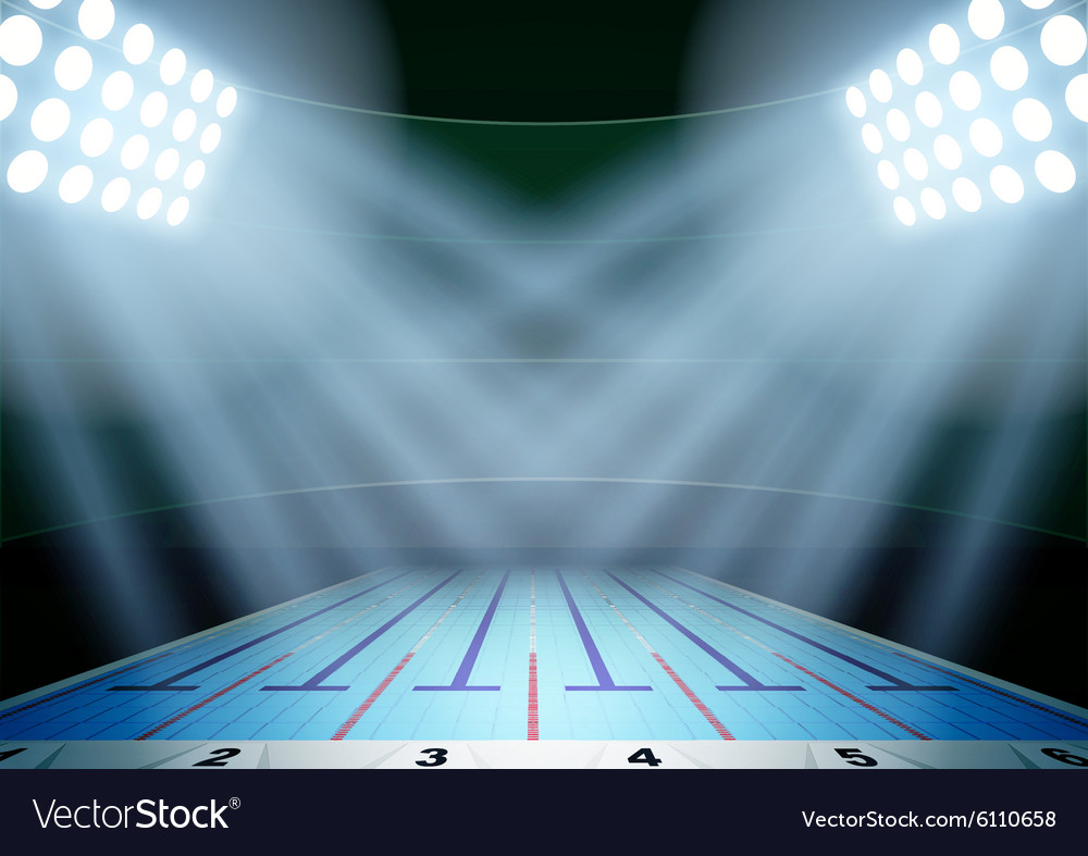 Background for posters night swimming pool stadium vector