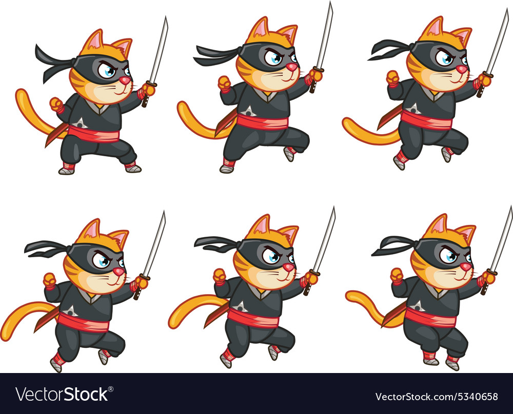 Cat ninja jumping sprite vector