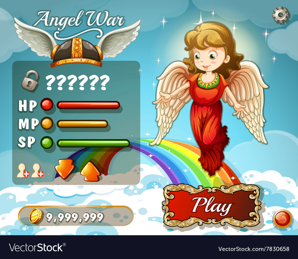 Game template with angel in the sky vector