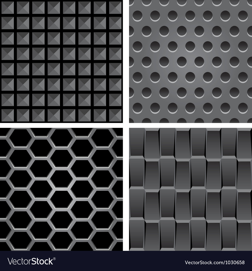 Set with metal seamless patterns vector
