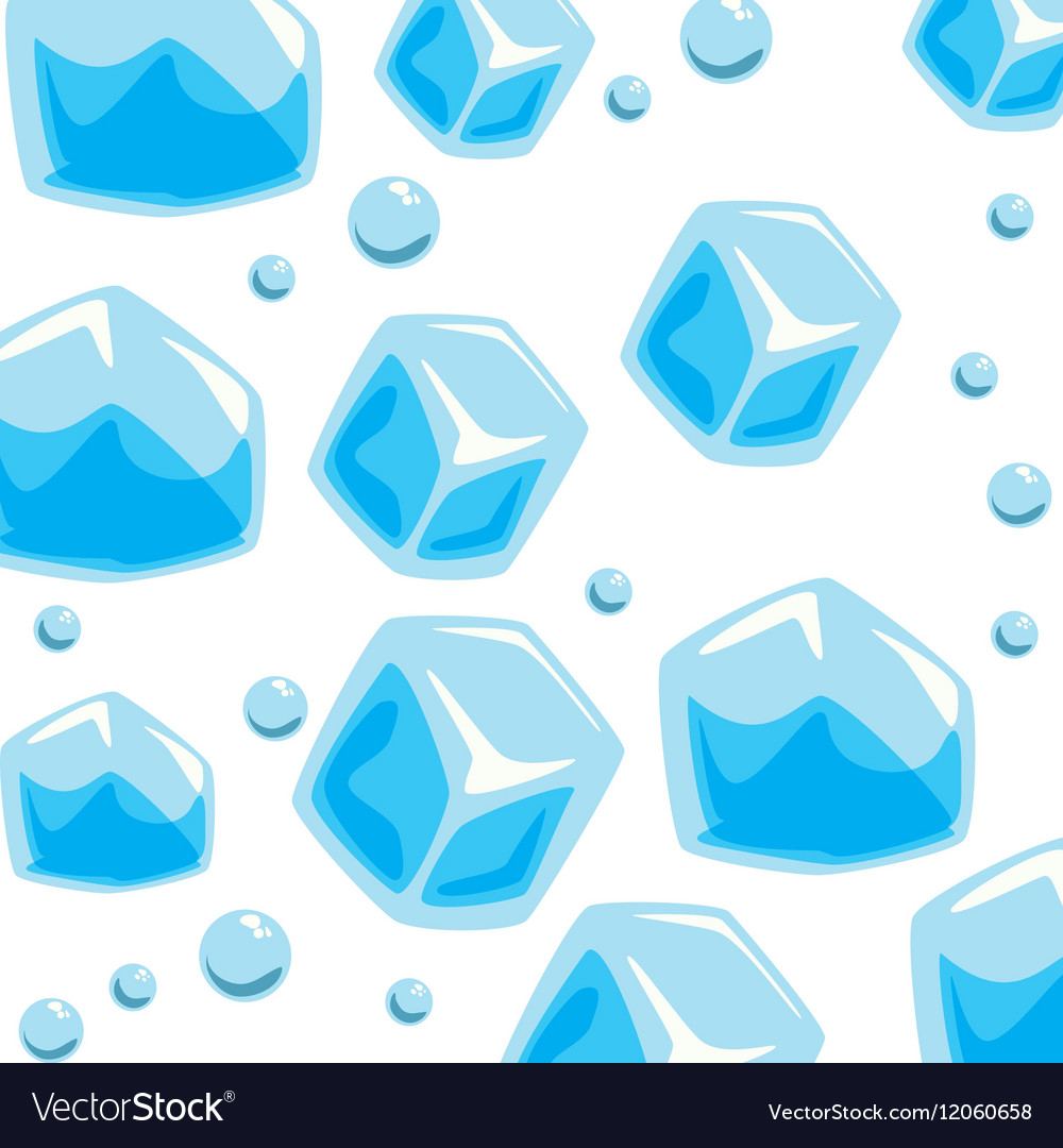 Wallpaper ice cubes solid bubbles seamless pattern vector