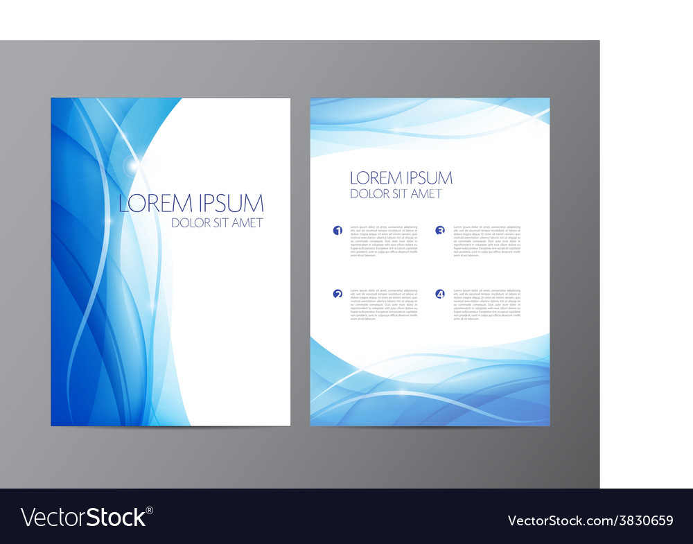 Abstract modern wavy flowing blue flyer vector