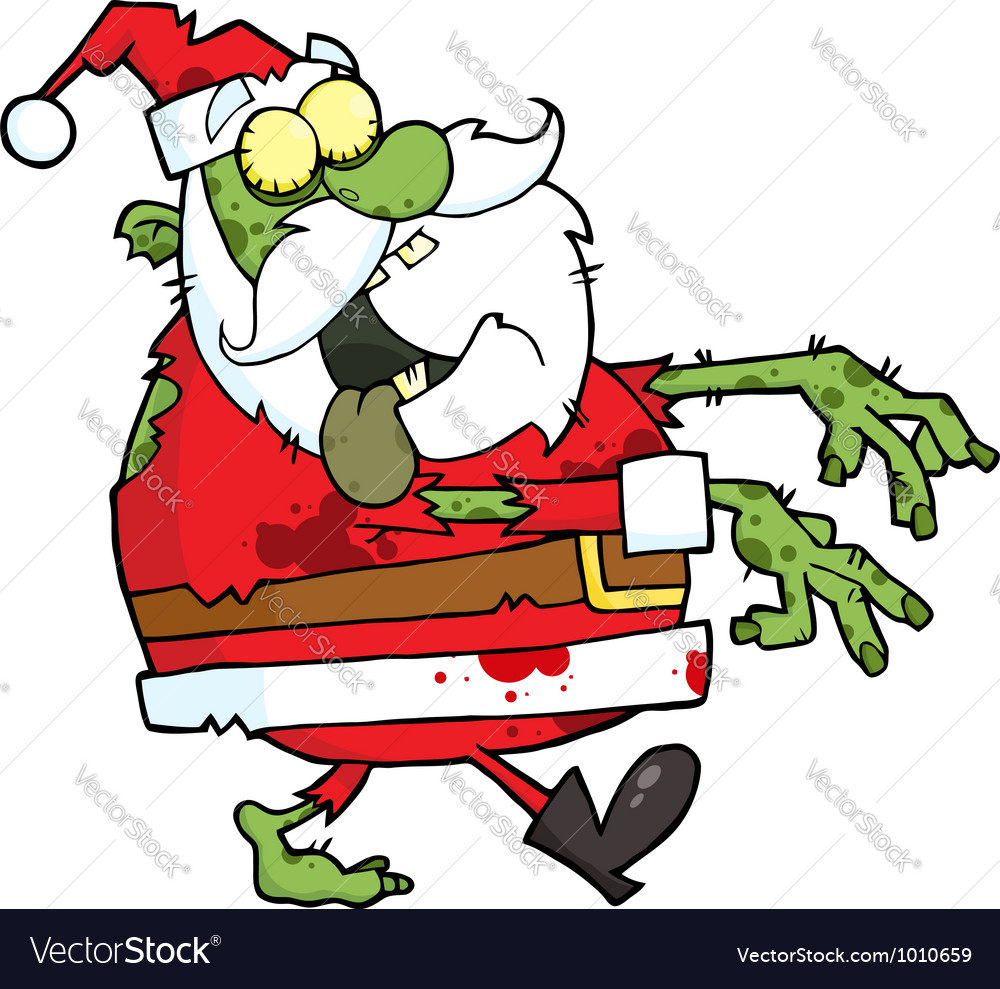 Santa zombie cartoon character vector