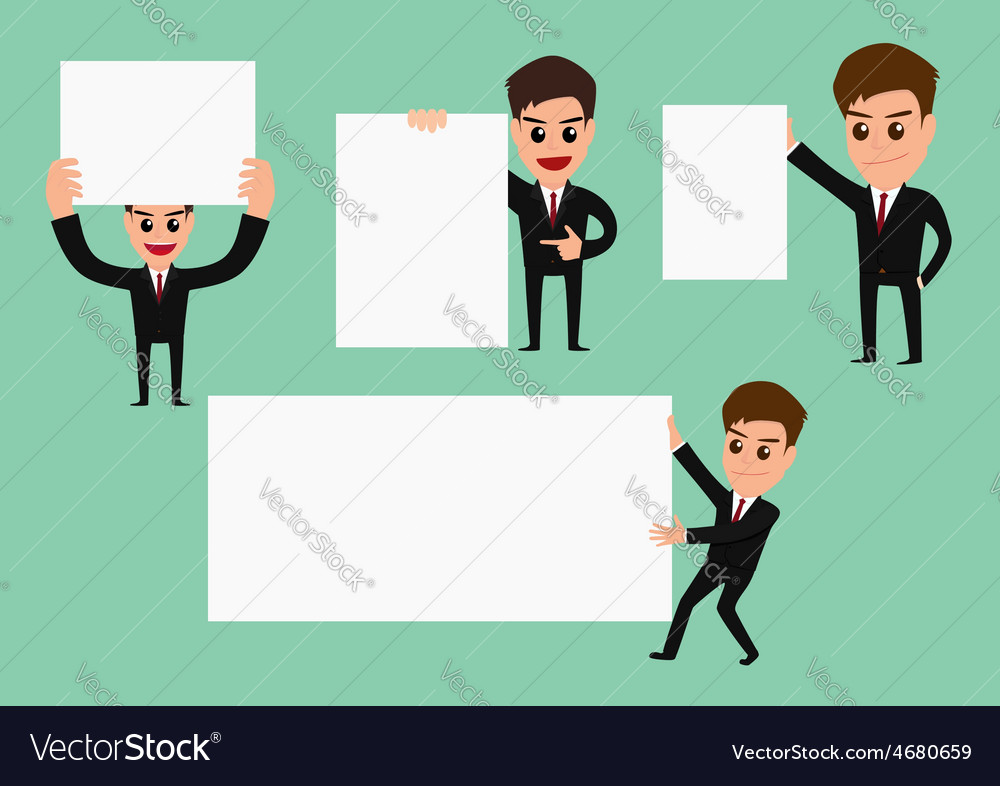 Set of businessman holding blank paper vector