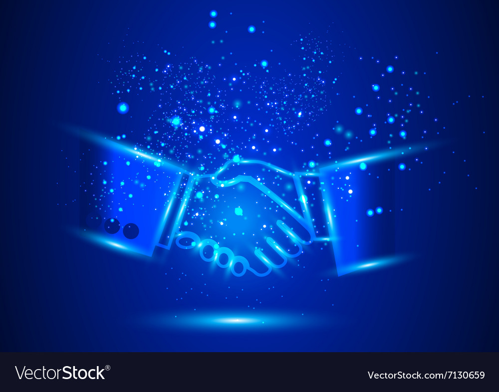 Teamwork shaking hands design concept vector