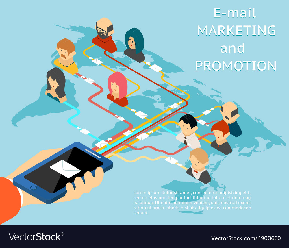 Email marketing and promotion mobile app isometric vector