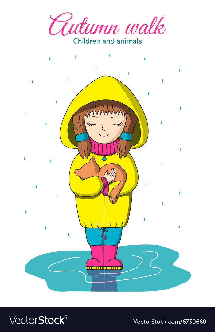 Girl and kitten in the rain vector