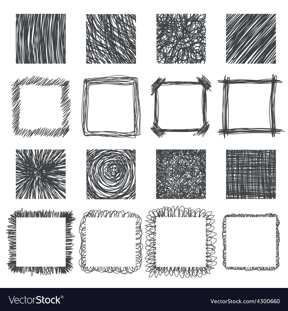 Set of hand drawn squares design elements lines vector