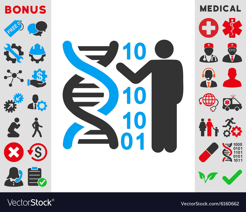 Dna code report icon vector