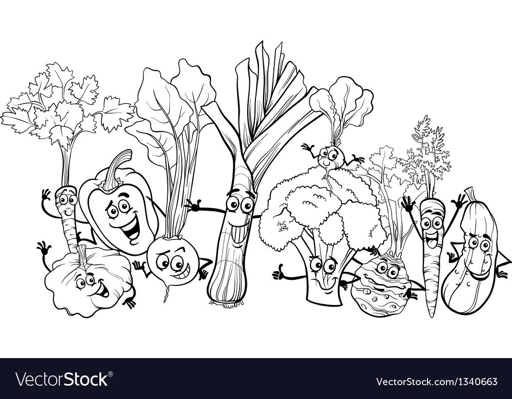 Cartoon vegetables for coloring book vector